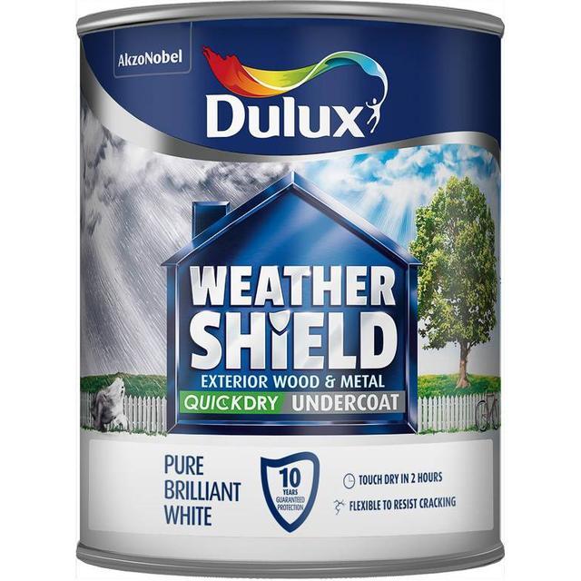 Dulux Weathershield Quick Dry Undercoat Exterior Wood Paint, Metal Paint White 0.75L