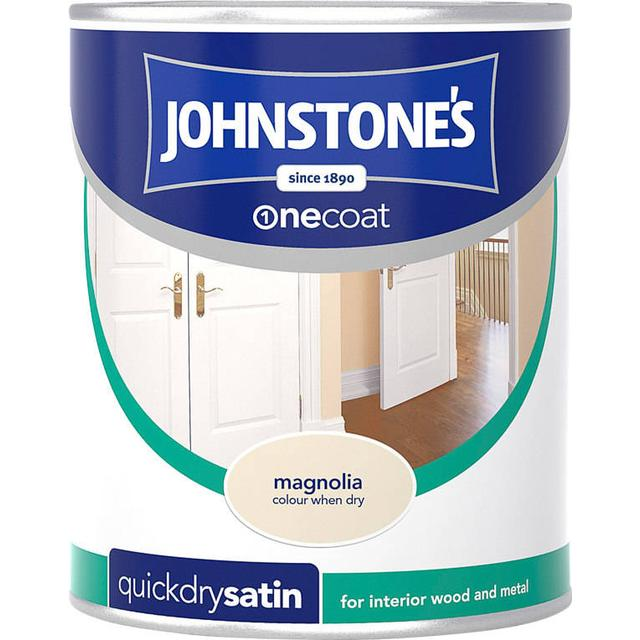 Johnstones One Coat Quick Dry Satin Wood Paint, Metal Paint Beige 0.75L