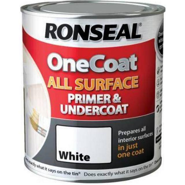 Ronseal One Coat All Surface Primer & Undercoat Wood Paint, Metal Paint White 0.75L