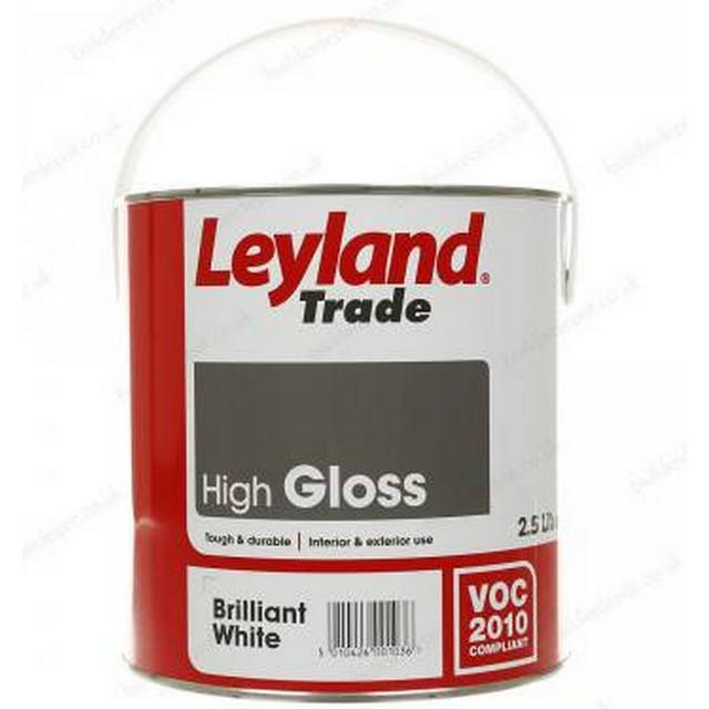 Leyland Trade High Gloss Wood Paint, Metal Paint White 2.5L