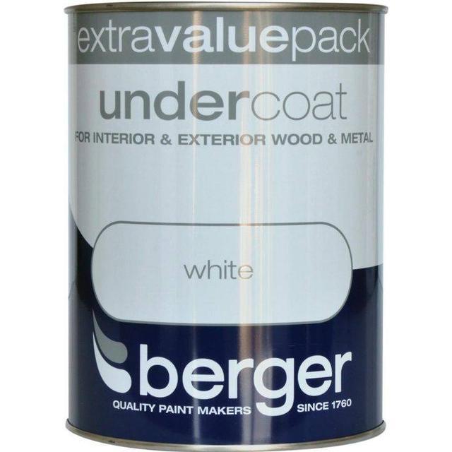 Berger Undercoat Wood Paint, Metal Paint White 1.25L