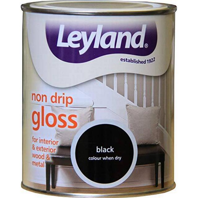 Leyland Trade Non Drip Gloss Wood Paint, Metal Paint Black 0.75L