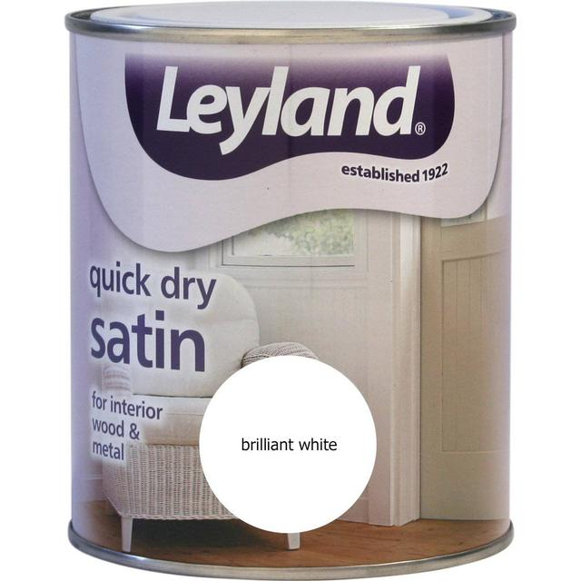 Leyland Trade Quick Dry Satin Wood Paint, Metal Paint White 0.75L