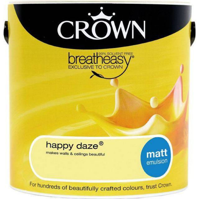Crown Matt Emulsion Wall Paint, Ceiling Paint Yellow 2.5L