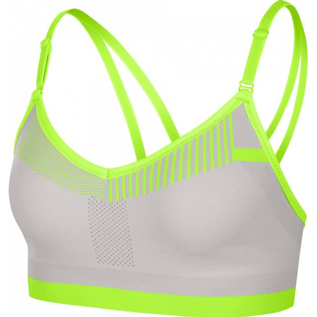 Nike Flyknit Indy Medium-Support Sports Bra - Vast Grey/Volt