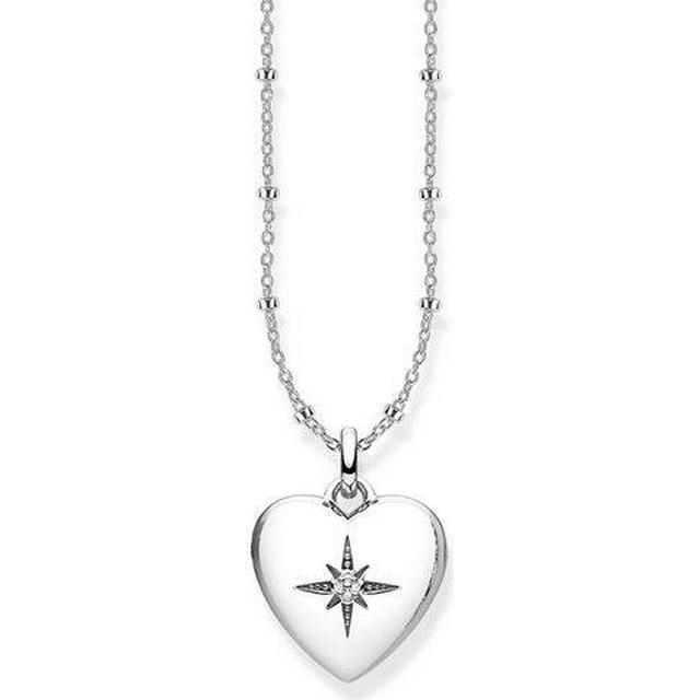 Thomas Sabo Heart Medallion Sterling Silver Necklace w. White Diamond (D_KE0035-356-14)