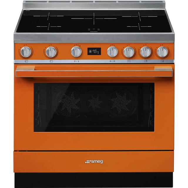 "Smeg CPF9IPOR SMEG 90cm ""Portofino"" Cooker with Pyrolytic Multifunction Ov… Orange"